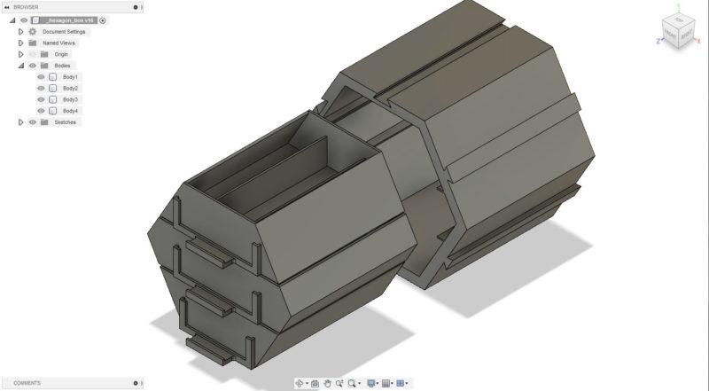 Hexagon box – šuplíčky pro součástky